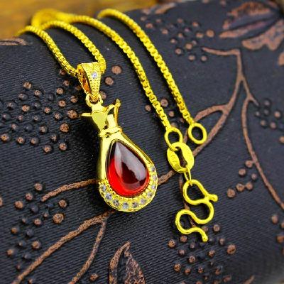 不褪色红玛瑙聚财镶钻钱袋吊坠镀金项链女越南沙金饰品仿黄金链子