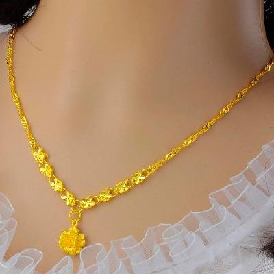 日韩不褪色玫瑰花镀金项链套链女士越南沙金饰品黄金色链子礼物女