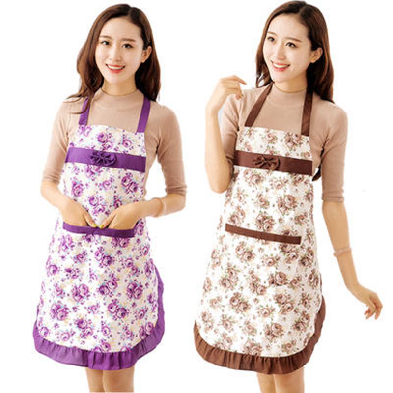 【老婆必备】【买2送1】时尚玫瑰花花边韩版围裙防水防油成人罩衣