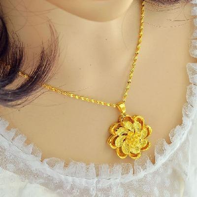 日韩不褪色大玫瑰花吊坠欧币镀金项链女士越南沙金饰品仿黄金链子