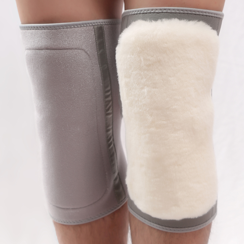 羊毛护膝皮毛一体粘扣保暖男女老寒腿老人秋冬季加厚护腿骑车外穿
