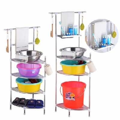 多层不锈钢洗脸盆三角架子厨房卫生间落地墙角洗手间收纳架置物架