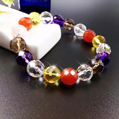 天然紫黄水晶手链女韩版简约红玛瑙学生彩手串送闺蜜妈妈生日礼物