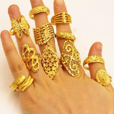 越南沙金戒指女个性百搭久不掉色指环欧币金饰品首饰女活口可调节