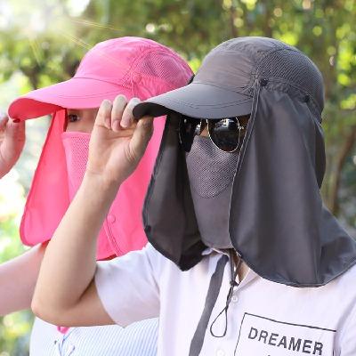 凉帽钓鱼帽子骑车夏天太阳帽男士遮阳帽夏季防晒帽女防紫外线遮脸