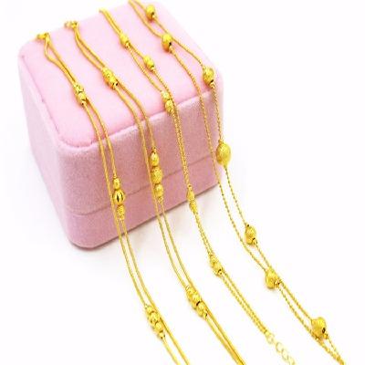 欧币越南沙金新款女转运珠脚链饰品 个性简约久不掉色礼物