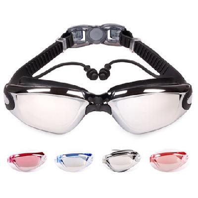 捷虎泳镜男女成人近视高清防雾带耳塞游泳眼镜大框电镀度数游泳镜