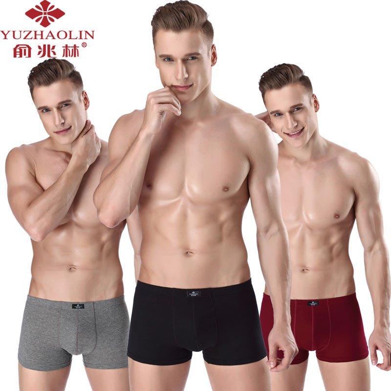 【加送1条】【俞兆林】纯95棉4条装男士内裤男平角裤棉质运动短裤