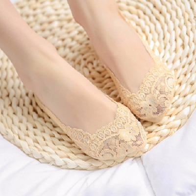 5双夏季女童船袜女亏本薄款隐形袜硅胶防滑浅口蕾丝跳舞短丝袜子