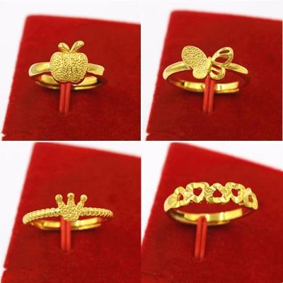 沙金韩款戒指女 黄铜镀金指环黄金色久不掉色开口个性时尚饰品