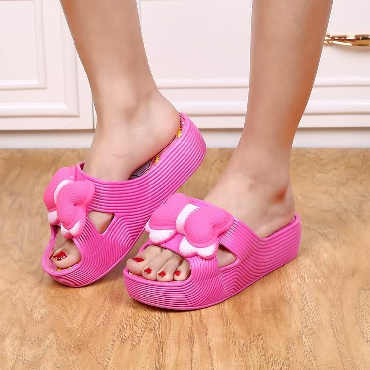 包邮夏季女厚底浴室拖鞋坡跟防滑居家花朵室内士凉沙滩5666