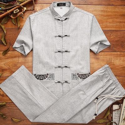 中年男装夏季唐装套装短袖衣服中国风亚麻中老年人爷爷装爸爸夏装