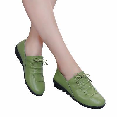 【100%牛皮】平底中年女鞋34真皮舒适百搭秋鞋女土大妈鞋41单鞋子