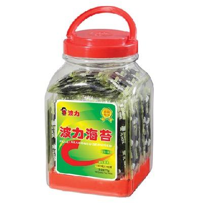 波力海苔原味75g夹心即食海苔紫菜拌饭零食小吃夹心脆80g桶装1.5g