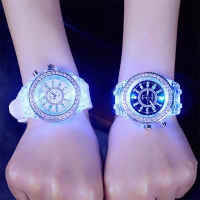 韩国复古时尚LED夜光表个性潮流男女哇胶简约学生手表电子情侣表