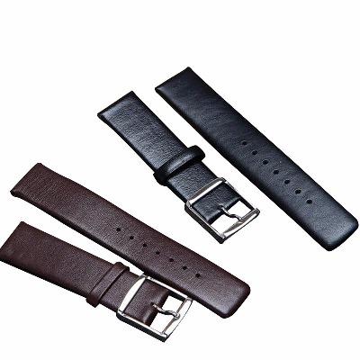 超薄手表表带头层牛皮针扣表带平直接口通用