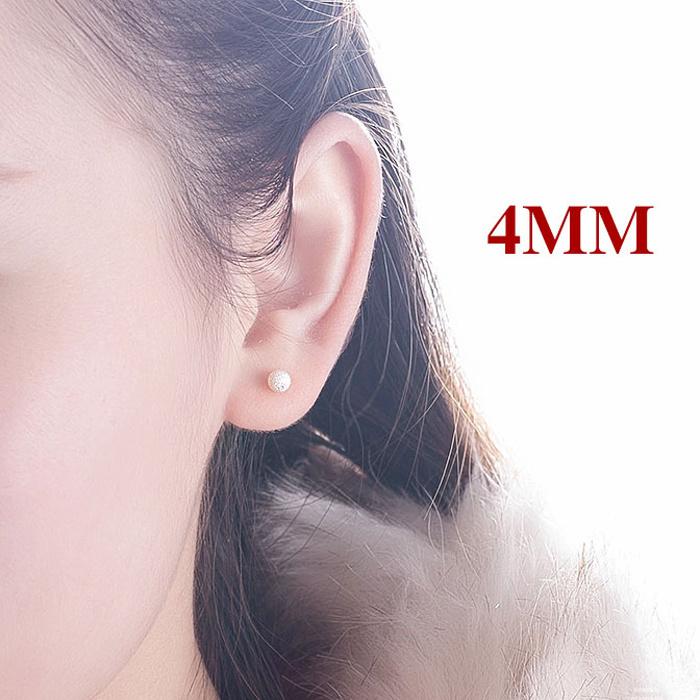 便宜的【买三送一】耳钉耳环女款男通用磨砂豆豆镀银耳钉S990纯银养耳棒