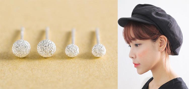 【买三送一】耳钉耳环女款男通用磨砂豆豆镀银耳钉S990纯银养耳棒