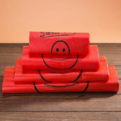 【50-200个红色笑脸袋】大中小号红色方便袋背心袋礼品塑料垃圾袋