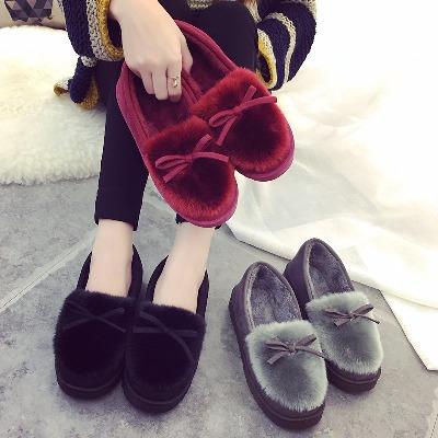2018冬季新款棉拖鞋女厚底鹿皮绒毛绒包跟保暖棉鞋月子鞋家居拖鞋
