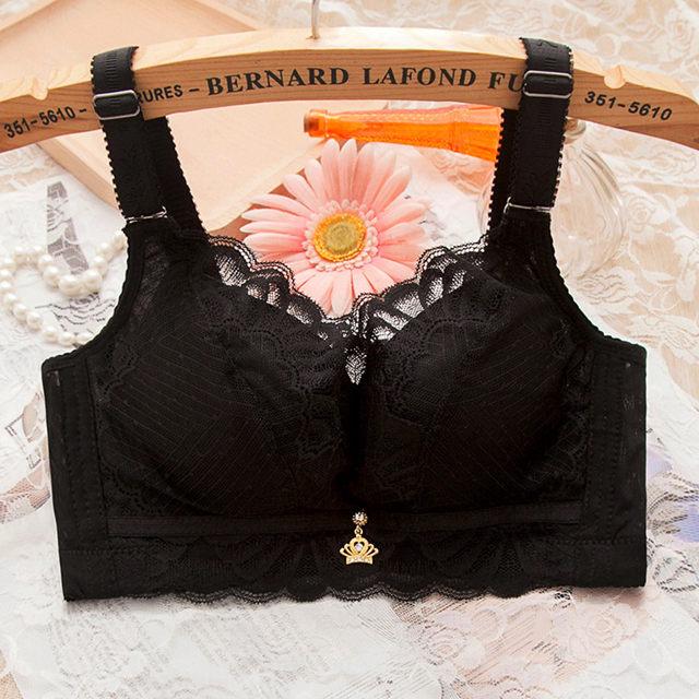 便宜的【丝玛】蕾丝无钢圈文胸罩女平小胸调整型收副乳加厚薄款聚拢内衣