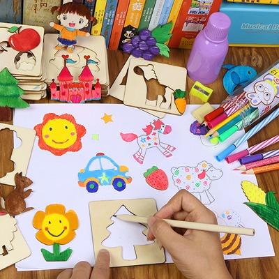 木质儿童礼物幼儿学画画工具涂鸦涂色绘画模板套装益智玩具男女孩