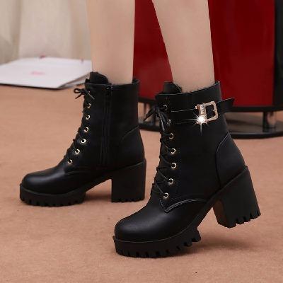 2020秋冬新款靴子女英伦马丁靴气质短靴学生高跟鞋粗跟防水台女鞋