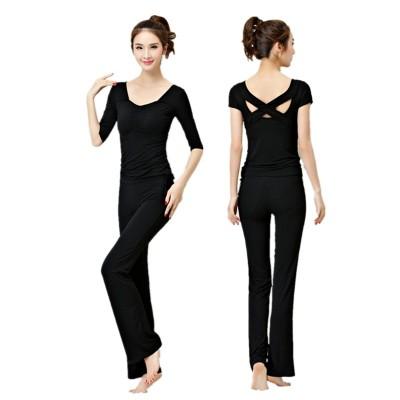 韩国瑜伽服套装女显瘦莫代尔纯棉夏季长裤专业健身运动服性感美背