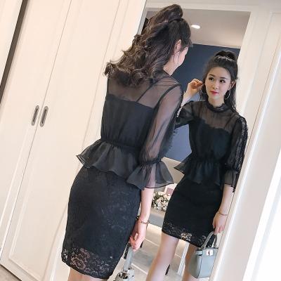 夜店性感套装裙子女夏新款韩版蕾丝吊带连衣裙包臀短裙春秋两件套