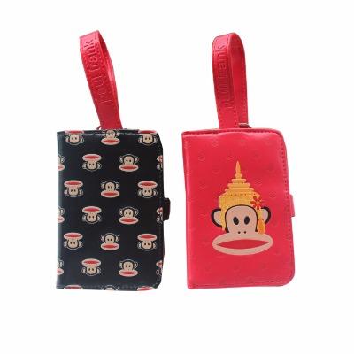 可爱卡通大嘴猴零钱包手拿包短款小钱包手钥匙包卡包女士包中包