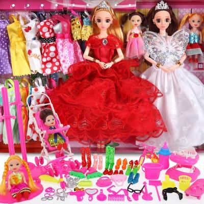 洋芭比娃娃套装大礼盒公主女孩儿童玩具衣服布生日礼物屋可爱公仔