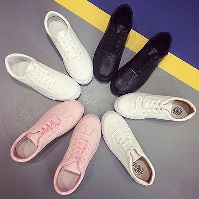 2019新款全黑白粉色平底休闲鞋韩版潮流百搭系带单鞋女式学生板鞋
