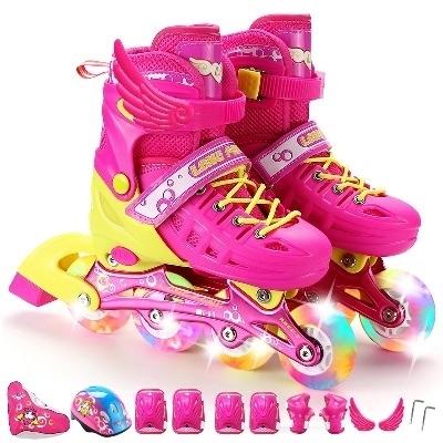 特价初学者溜冰鞋儿童全套装3-4-5-6-10岁男女轮滑鞋滑冰直排轮旱冰鞋闪光可调码轮子发亮带翅膀小男孩小女孩粉色蓝色