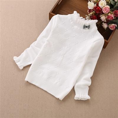 女童毛衣套头女宝宝黑色打底衫秋冬女孩白色圆领儿童线衣针织衫