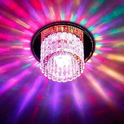 【三色调光】客厅射灯筒灯LED天花灯彩色变光水晶过道走廊灯洞灯