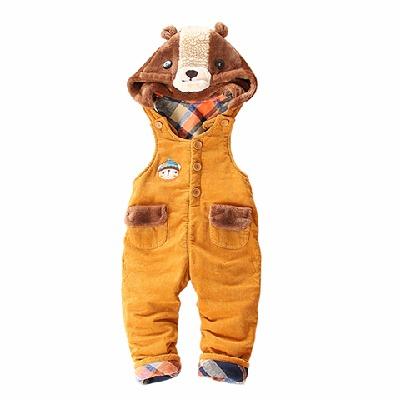 扑扑熊童装裤冬季加厚婴儿宝宝男女童灯心绒保暖外出服连帽背带裤