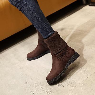 冬天鞋子女平跟短靴秋冬季韩版平底女靴毛线筒加绒雪地靴中筒靴子