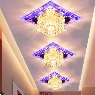 【七彩变光】水晶过道灯走廊灯玄关客厅吊顶彩色LED天花射灯筒灯