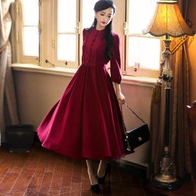 民国学院古风文艺复古修身九分袖修身连衣裙洒红色清新仙女长裙子