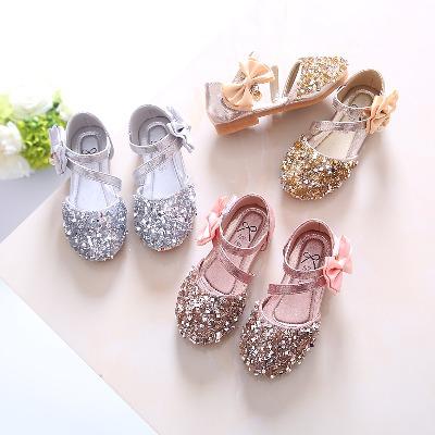 女童凉鞋公主鞋儿童单鞋2020春夏新款韩版亮片女童鞋宝宝鞋半凉鞋