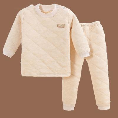 三层夹棉儿童保暖内衣套装加厚宝宝睡衣冬天男童居家服女童打底衣