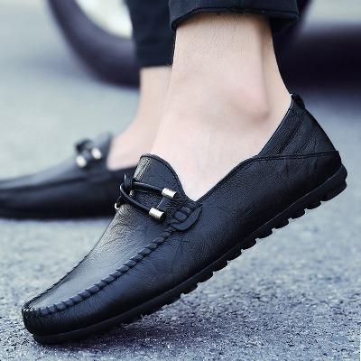 休闲皮鞋男豆豆鞋真皮软皮懒人鞋男士夏季透气韩版潮流青年男鞋子