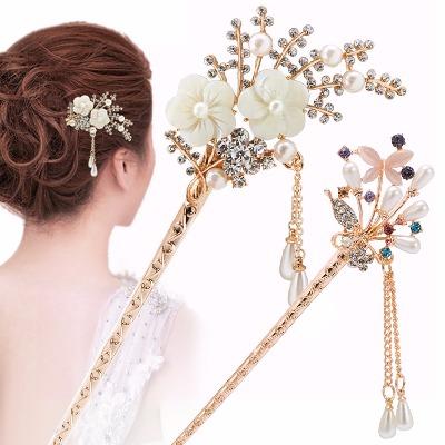 古典簪子韩国发卡u型夹子新娘发插小发簪步摇流苏盘发器发饰品女