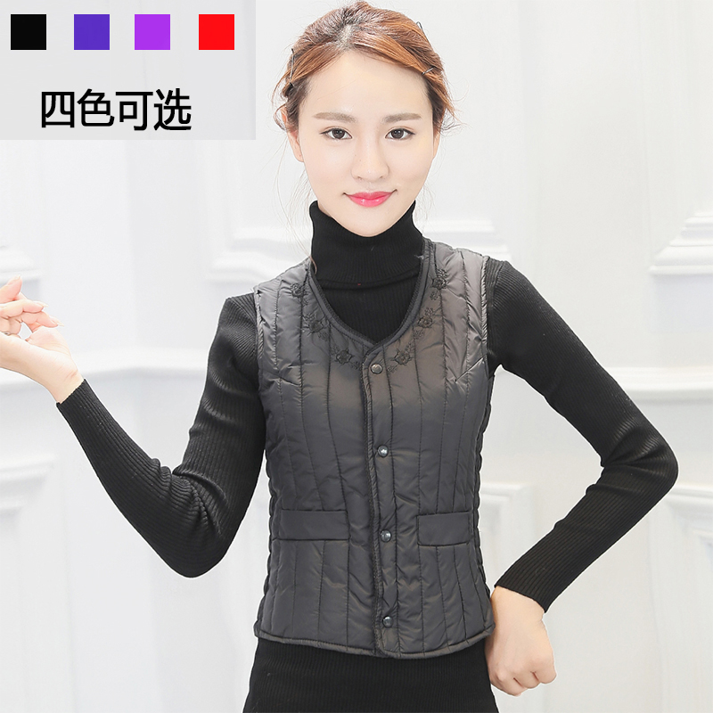 Women's Down, Cotton vest, Black clip, Middle-aged and old women wear shoulder-sized mother's body-fitting inner gallbladder