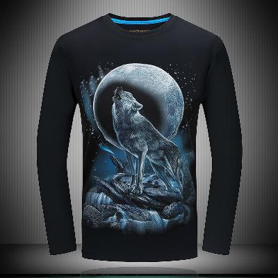 带动物图案狼男士t恤长袖秋季休闲3d体恤圆领潮流个性t恤男式大码