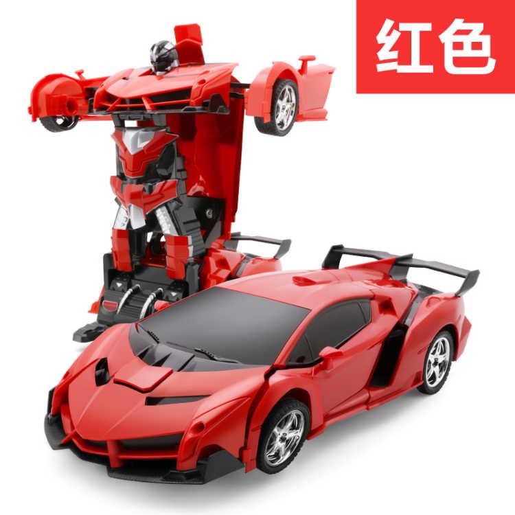 One-click Transformers remote control car: Transformers toy remote control car charging deformed robot toy car