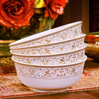 景德镇陶瓷面碗骨瓷面条碗家用大面碗汤碗饭碗泡面碗4个装6英寸
