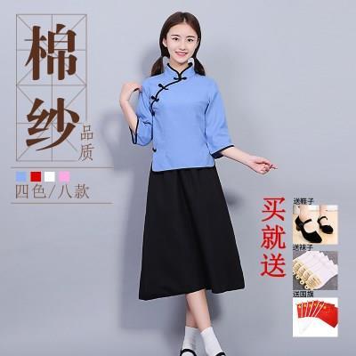 民国学生装女五四青年装中国风中山装男毕业班服复古舞台演出套装