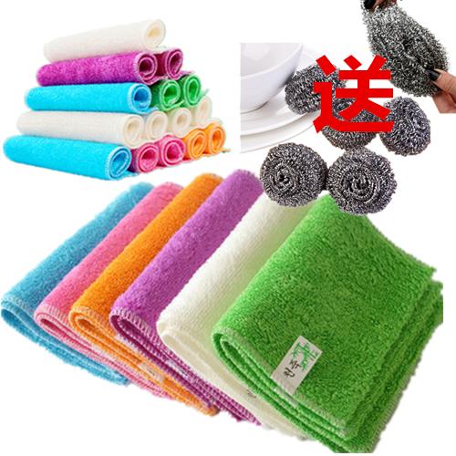 【4/8装洗碗布】竹纤维洗碗巾送清洁球加厚不沾油抹布竹炭洗碗布