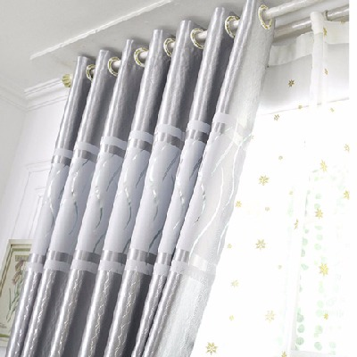 高档简约现代烫金条纹遮光窗帘成品客厅卧室阳台遮阳布飘窗落地窗